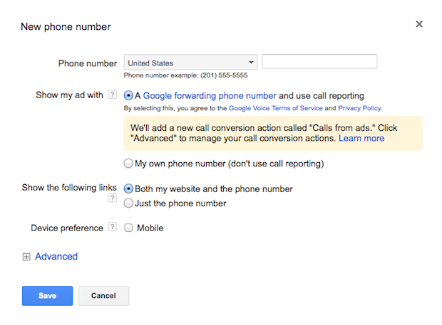 Google call tracking numbers