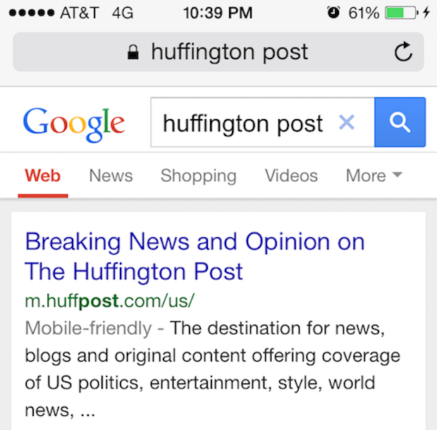 mobile friendly search result