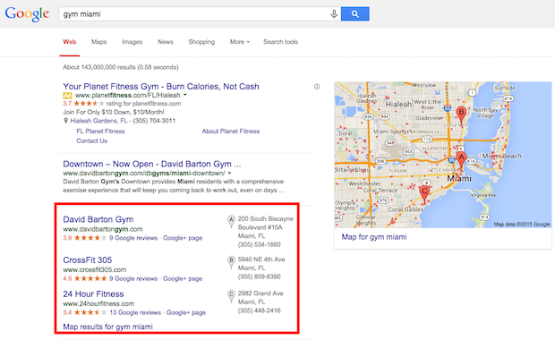 Google My Business local listing example