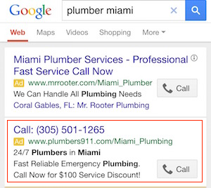 Call-only PPC Google ad