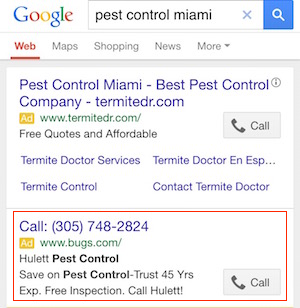 Google AdWords Call-only example