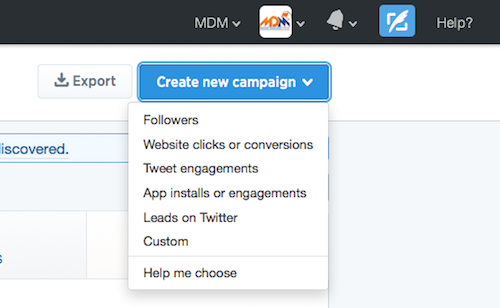 select twitter ads campaign