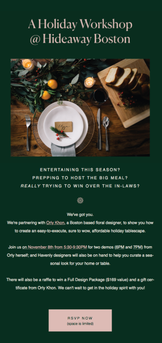 holiday email newsletter example